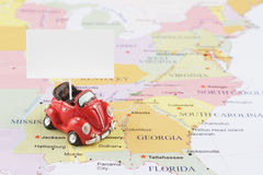 Toy car on map Royalty Free Stock Photography