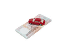 Toy car on money Stock Photography