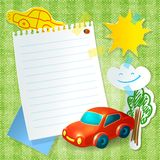 Toy car paper postcard template Royalty Free Stock Photos