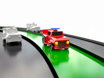 Toy car racing, 3D Royalty Free Stock Photography