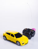 Toy car or radio control car on background. Stock Photos