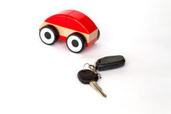 Toy car red color on a white background Stock Photo