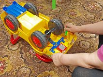 Toy car repairing 2 Royalty Free Stock Photo