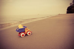 Toy Car at sea Stock Images