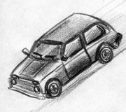 Toy car sketch. Hand drawn pencil sketch of a toy car moving Stock Image