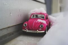 Toy car in snow Royalty Free Stock Image