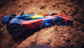 Toy car. Speed thrills but kills royalty free stock photos