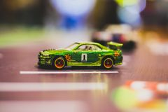 Toy Car, Sports Model with racer Decal, green. The color, decal, and sports type is combination of feminine and masculine Taken with 100mm macro lens royalty free stock images
