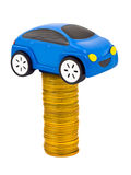Toy car and stack of coins Royalty Free Stock Photo