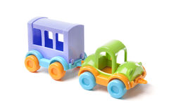 Toy car with trailer Stock Photo
