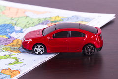 Toy Car for Travel Concept Royalty Free Stock Photos