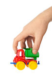 Toy car truck in hand Royalty Free Stock Photos