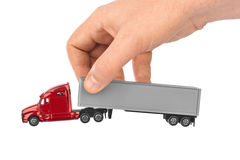 Toy car truck in hand Royalty Free Stock Photography