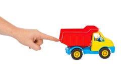 Toy car truck and hand Stock Photography