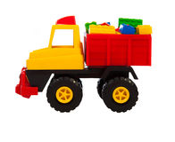 Toy car. The truck isolated on a white background stock image