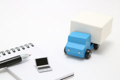 Toy car truck and laptop on white background. Stock Photography