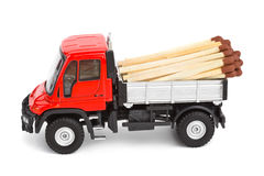 Toy car truck with match Stock Photo