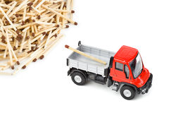 Toy car truck and matches Royalty Free Stock Image