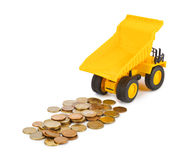 Toy car truck and money coins Royalty Free Stock Photo