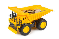 Toy car truck with money coins Stock Image