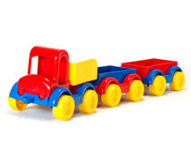 Toy car truck and trailer on white background Stock Images