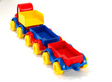 Toy car truck and trailer on white background Royalty Free Stock Images