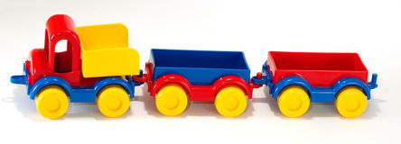 Toy car truck and trailer  on white background Stock Photo