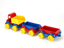 Toy car truck and trailer on white background Royalty Free Stock Photography