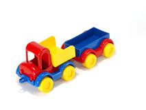 Toy car truck and trailer  on white background Royalty Free Stock Photos