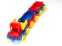 Toy car truck and trailer  on white background Royalty Free Stock Photo
