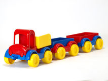 Toy car truck and trailer on white background Royalty Free Stock Image