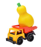 Toy car the truck with wooden pear toy Royalty Free Stock Images