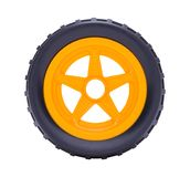 Toy Car Wheel. Toy Car Tire Isolated on a White Background stock photography