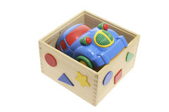Toy Car in Wooden Box Royalty Free Stock Images