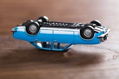 Toy Car On Wooden Desk Stock Image