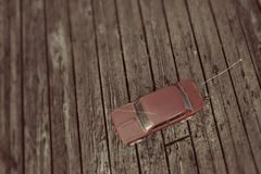 Toy car on wooden parquet Stock Image