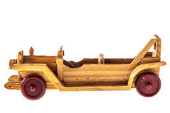 Toy car. A wooden old toy car isolated over a white background Stock Photos