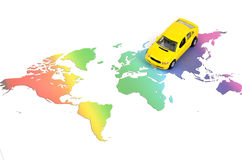 Toy car and world map. On white background stock photography