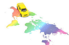Toy car and world map. On white background stock images
