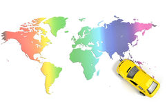 Toy car and world map. On white background royalty free stock photography