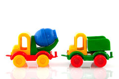 Toy cars. Two colorful plastic toy cars isolated over white Stock Photo