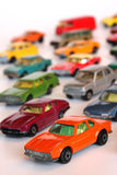 Toy cars. Colorful toy cars isolated on white Stock Photos