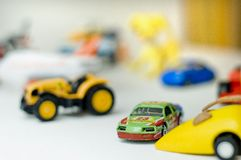 Toy Cars. Closeup of colorful kid's toy cars Royalty Free Stock Photo