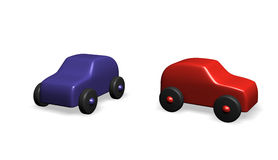 Toy cars. Two toy cars - red and blue Royalty Free Stock Images