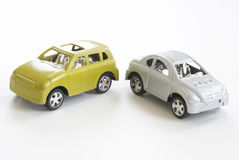 Toy Cars. Two toy cars parked side by side Stock Photos