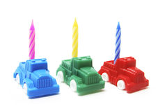 Toy Cars with Birthday Candle Royalty Free Stock Image
