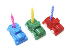 Toy Cars with Birthday Candle Stock Image