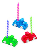 Toy Cars with Birthday Candles Royalty Free Stock Photos