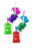 Toy Cars with Birthday Candles Royalty Free Stock Photography