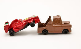 Toy cars. Closeup isolated on white background Royalty Free Stock Photos